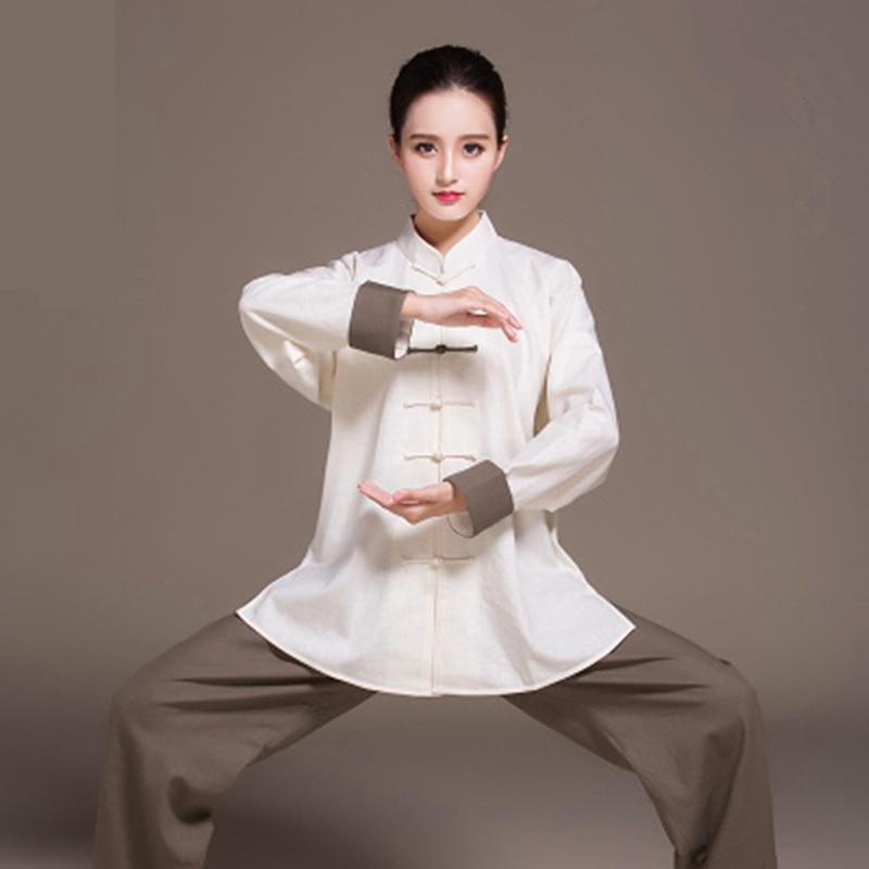 Women Linen Wushu Training Clothing Bi color Taiji Suit Female Kung Fu Uniform Martial Arts Tai