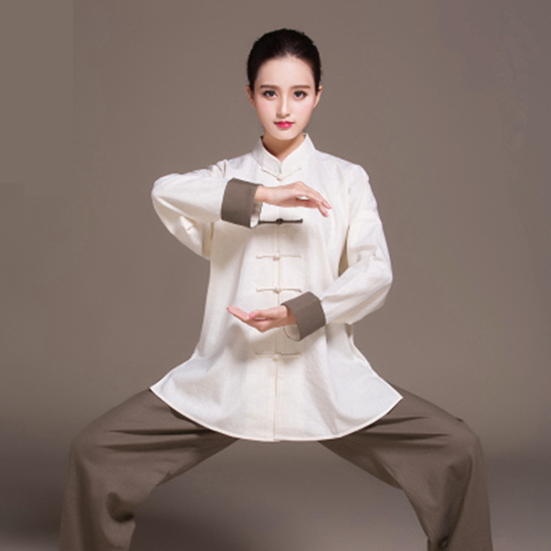 Women Linen Wushu Training Clothing Bi-color Taiji Suit Female Kung Fu Uniform Martial Arts Tai Chi  Jiu Jitsu Long Sleeve Set