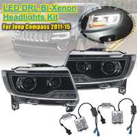 12v 35w For Jeep for Compass 11 15 Car Styling Headlights Led Headlight Head Lamp Led Daytime Running Light Drl Bi Xenon for Hid