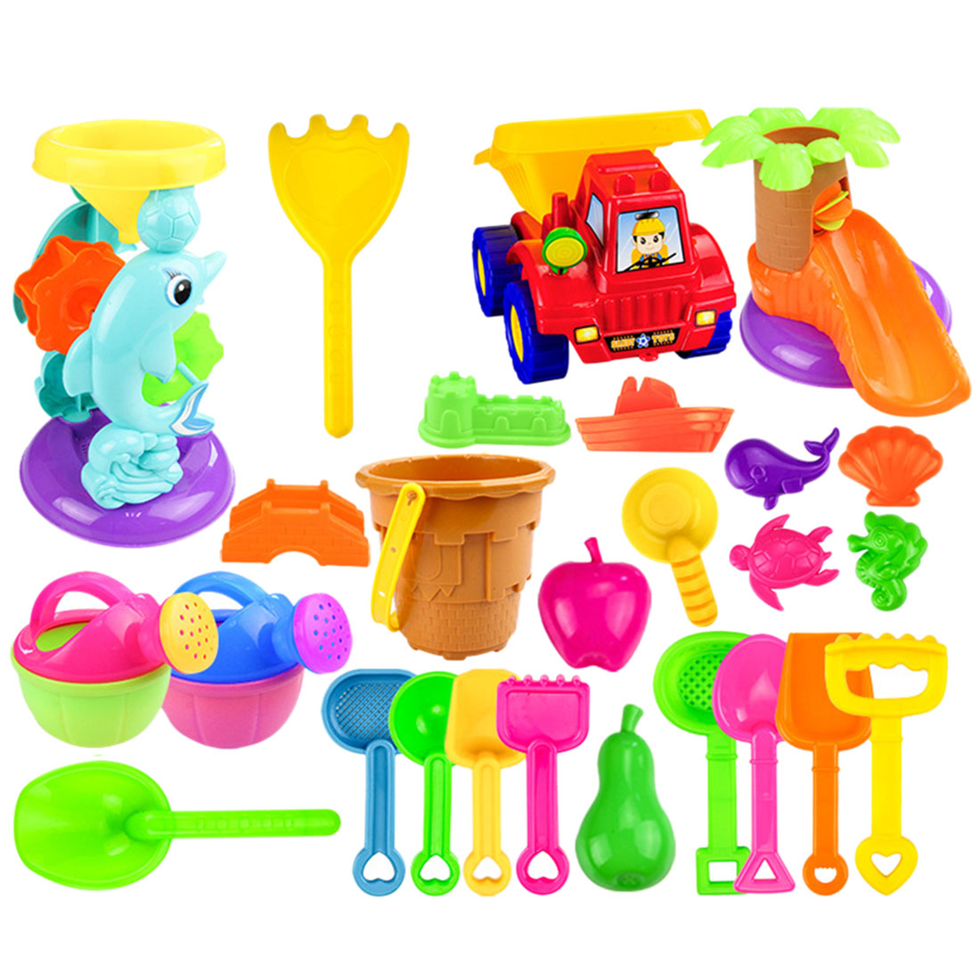 26Pcs Outdoor Kids Beach Sand Toys Beach Bucket Playset For Kids Baby Sand Clay Mold Sand Water Playing Tool Toy - Random Color