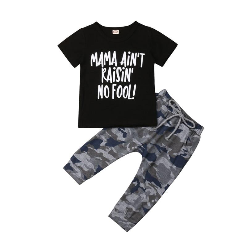 1-6 T Del Bambino Del Capretto Del Ragazzo Camoflage Stampa Vestiti Set Magliette E Camicette T Shirt Pantaloni Tuta Outfit Casual 2 Pcs Di Estate