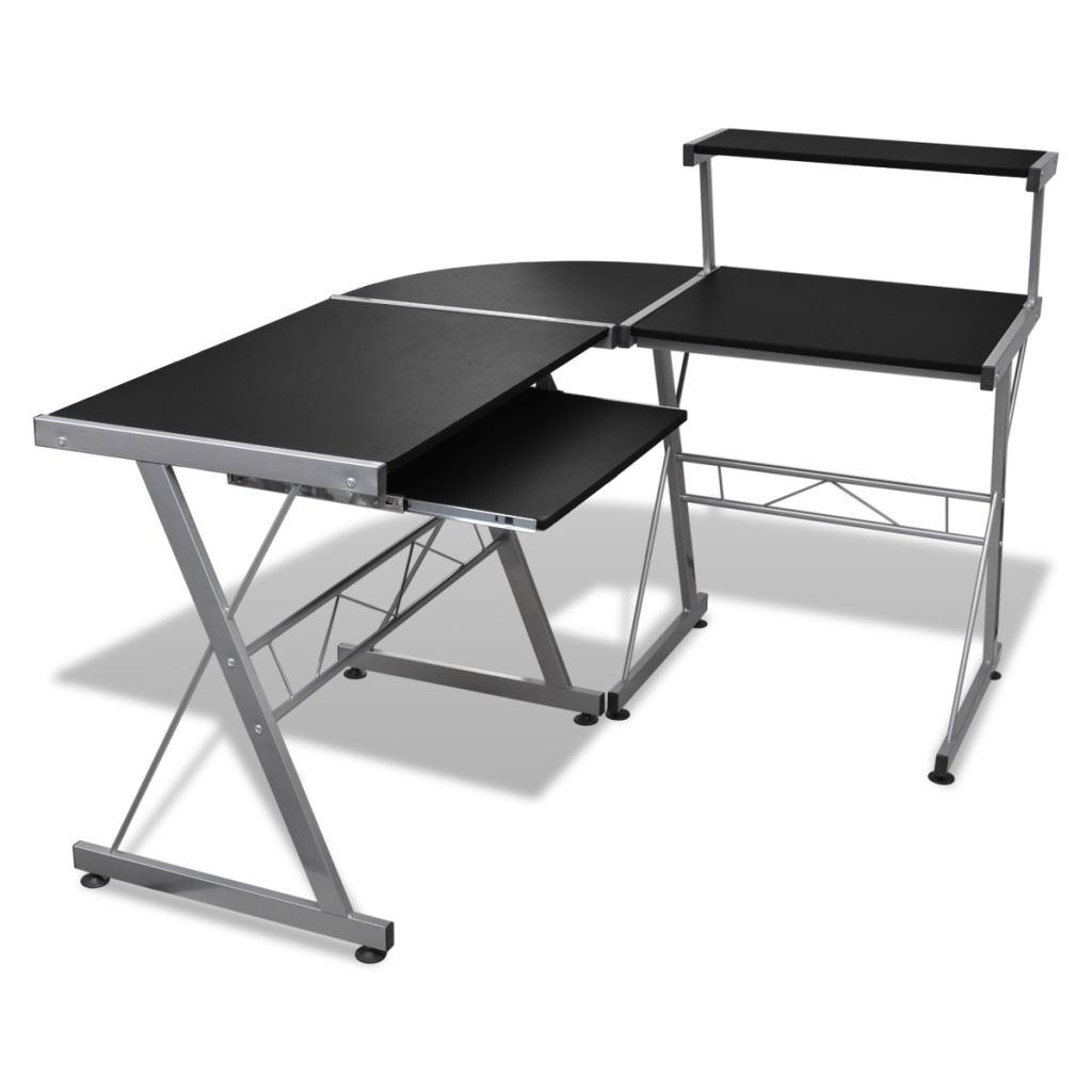 Laptop Desk Computer Desk Durable Wooden Splicing Study Table Writing Desk Home Office Workstation Black With Keyboard Tray(China)