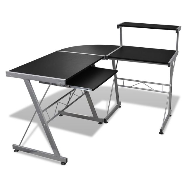 Laptop Desk Computer Desk Durable Wooden Splicing Study Table Writing Desk Home Office Workstation Black With Keyboard Tray