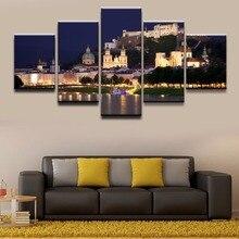 5 Panel Austria Bridge Building Salzburg Picture Modern Wall Art HD Printed Home Decorative Living Room Bedroom Canvas Painting