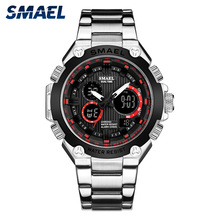 Quartz Watches Stainless Steel SMAEL Waterproof Dual Time Clock 1363 reloj hombre Watch Men Military