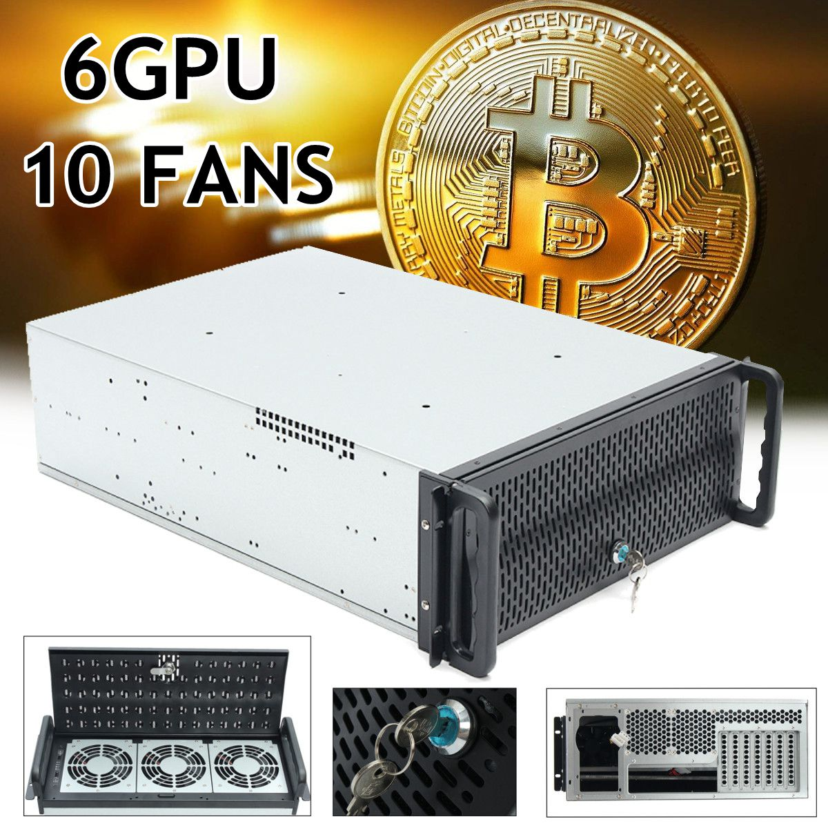 6 GPU 4U Rackmount Miner горная рама горная сервер чехол с 10 вентиляторами Rsiers рамка Rig