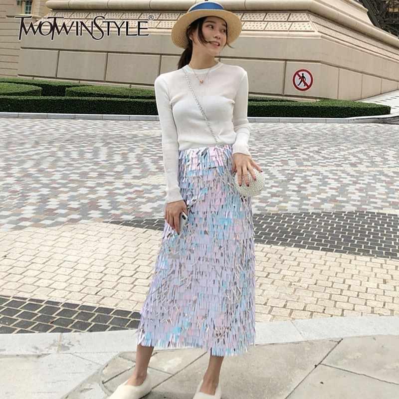 GALCAUR Herbst Pailletten Röcke Für Frauen Elastische Hohe Taille Quaste Bleistift Bodycon Lange Röcke Weiblichen Koreanischen Mode Kleidung