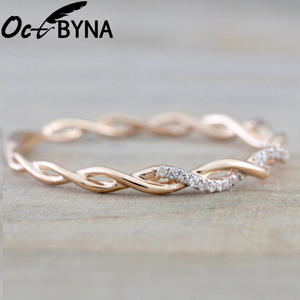 Octbyna Popular Simple Round Brand Rings For Women Rose Gold Color Twist Rope Stacking