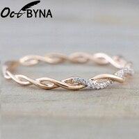 Octbyna popular simples anéis de marca redonda para mulher rosa cor de ouro torção corda empilhamento noivado & festa anéis dropshipping