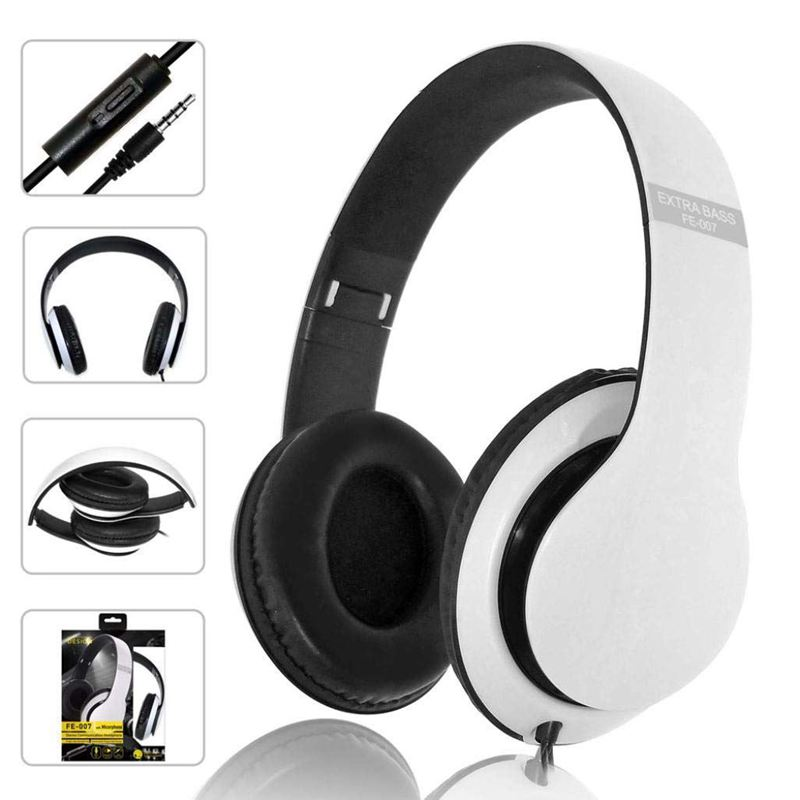 Kubite Aktive Noise Cancelling Wired Kopfhörer mit Mikrofon Extra Bass AUX Headset Über Ohr, FE-007 Stereo Headset Extra Ba image