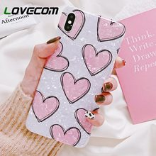 LOVECOM Pink Heart Dream Shell Case For iPhone XS XR XS Max X 6 6S 7 8 Plus Soft IMD Full Body Phone Back Cover Gift for Lover(China)