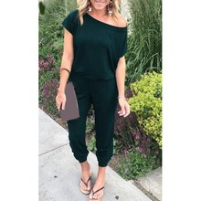 Summer Women Off Shoulder Jumpsuits Solid Short Sleeve Loose Casual Female Long Rompers