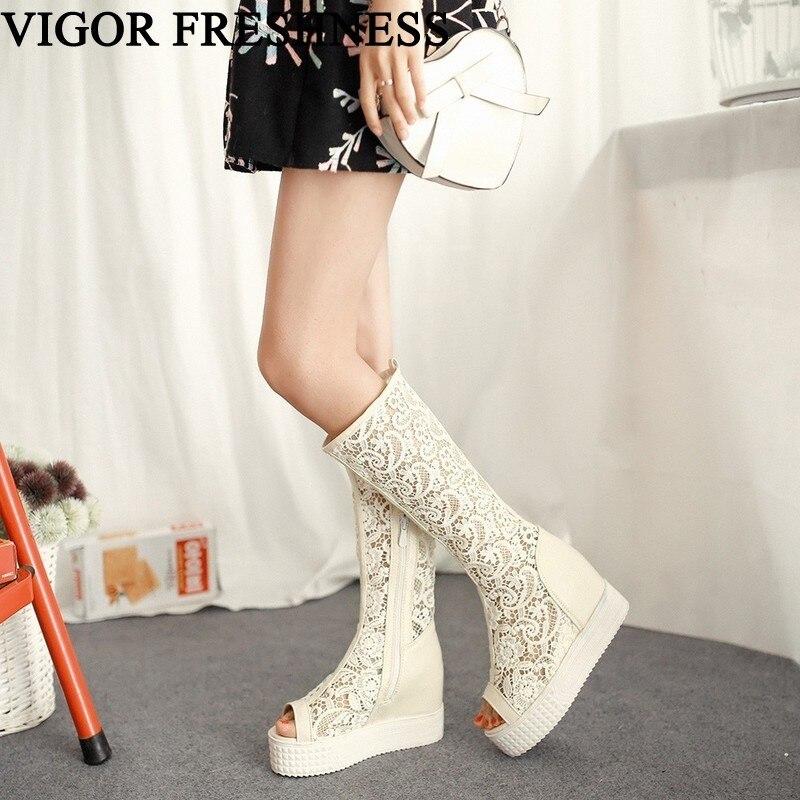 VIGOR fraîcheur bottes femmes chaussures printemps mi-mollet femme bottes découpe dames chaussures fête automne oeillet été bottes MY203