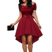 2019 Fashion Dress Elegant Red Lace Dress Women Short Sleeve Sashes Tunic Dress Summer Ladies Sexy Evening Party Dresses