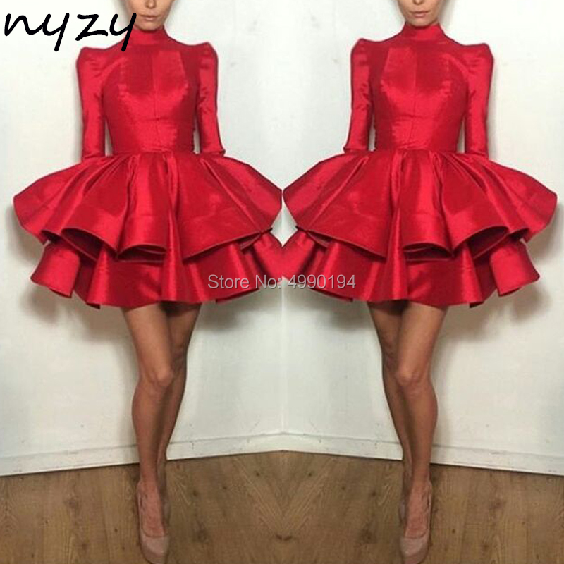 NYZY C76 Robe   Cocktail     Dress   Red Carpet   Dresses   Formal   Dress   Satin Wedding Party   Dress   Celebrity vestido coctel