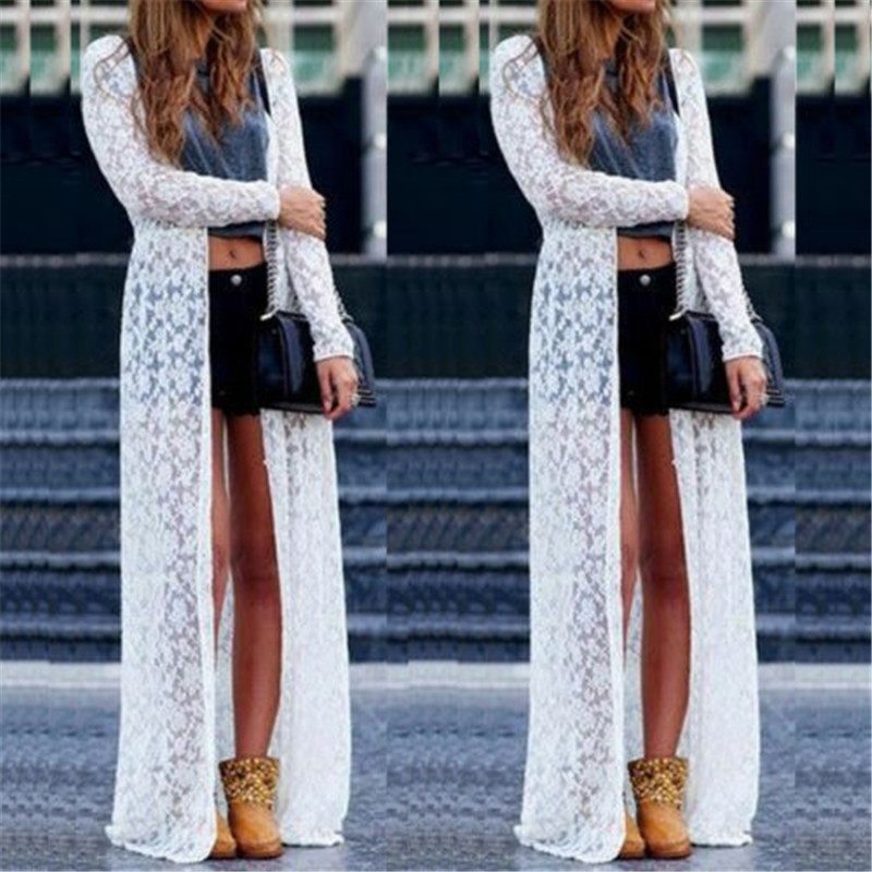 2019 New Black Friday Deals Women Ladies Summer Long Sleeve Beach Lace Cardigan Blouse Long Tops by Ali Express.Com