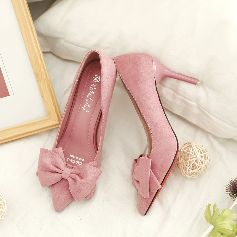 Women pumps fashion Cross Border Supply Hugely Women's Shoes Pointy Toe Bow Accent Pumps Stiletto Heel Pumps Female heel shoe
