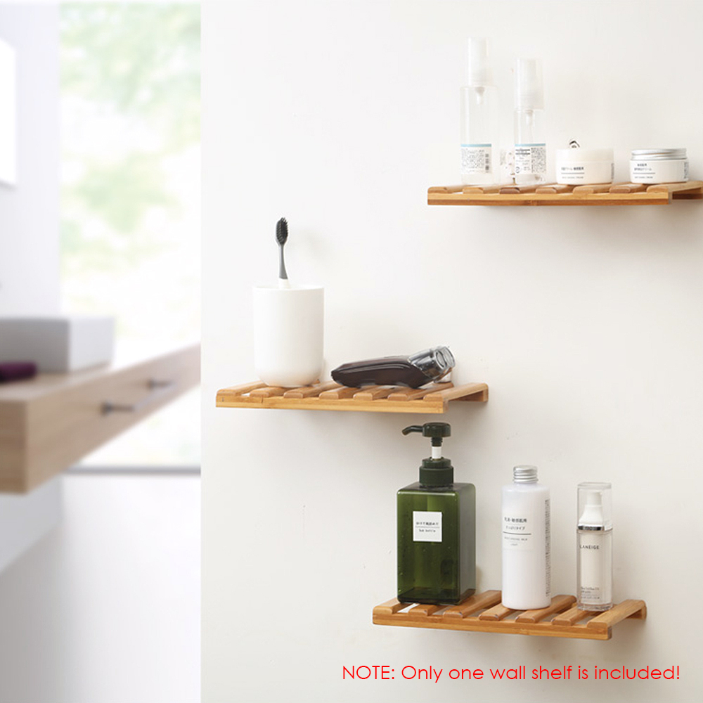 official photos b5892 d269f US $6.88 40% OFF|Edge Floating Shelve Wall Ledge Bamboo Storage Rack  Floating Shelf Bracket Wall Decoration Kitchen Bathroom Organizer Racks-in  ...