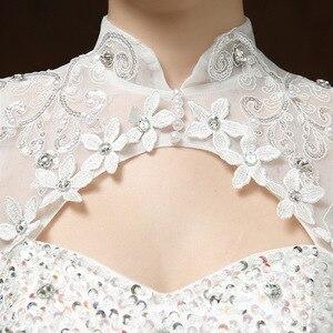 Image 4 - Бальное платье Свадебные платья с аппликацией без рукавов с высоким воротником Свадебные платья на шнуровке с бисером элегантные кружевные свадебные платья Robe De Mariee