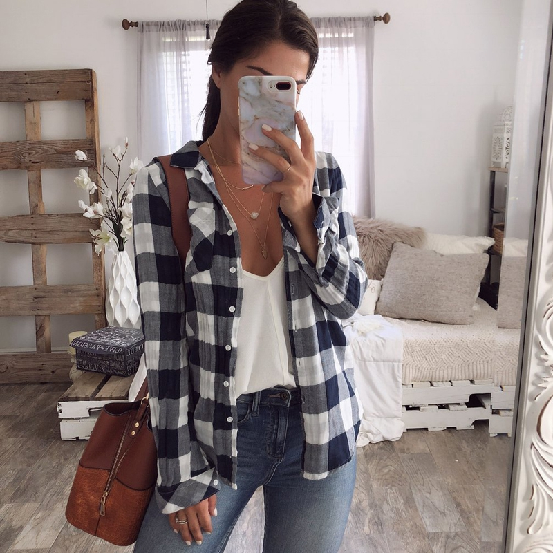 New 2019 Women Loose Striped Long Sleeve Button V Neck Shirt Boyfriend Stylish Casual Blouse Tops