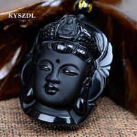 KYSZDL Perle Vorhang Natürlichen Obsidian Peeling Anhänger Schwarz Guanyin Kopf Anhänger Umgeschlagen Buddha Kopf