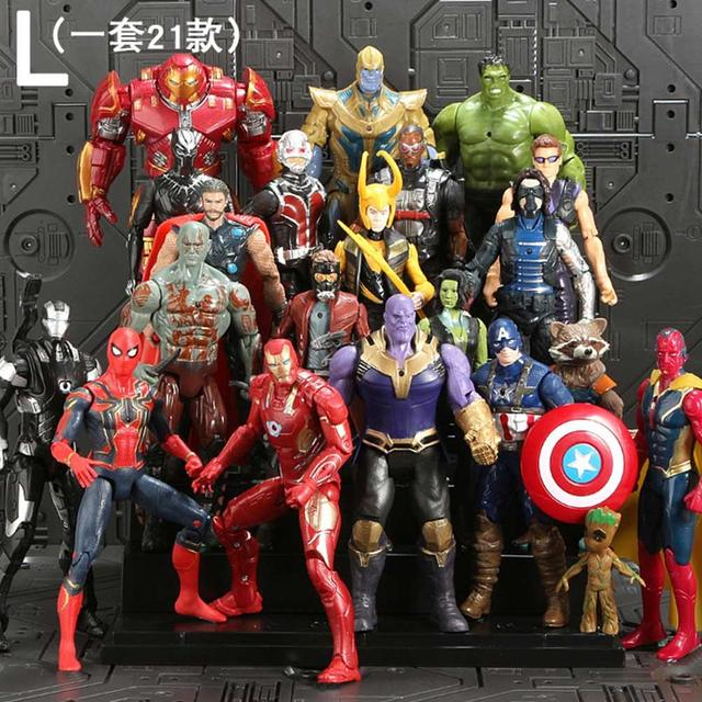 21 pcs Vingadores Marvel Thanos Endgame Spiderman Homem De Ferro Capitão América Thor Hulk Wolverine Action Figure Bonecas Brinquedos para o Miúdo