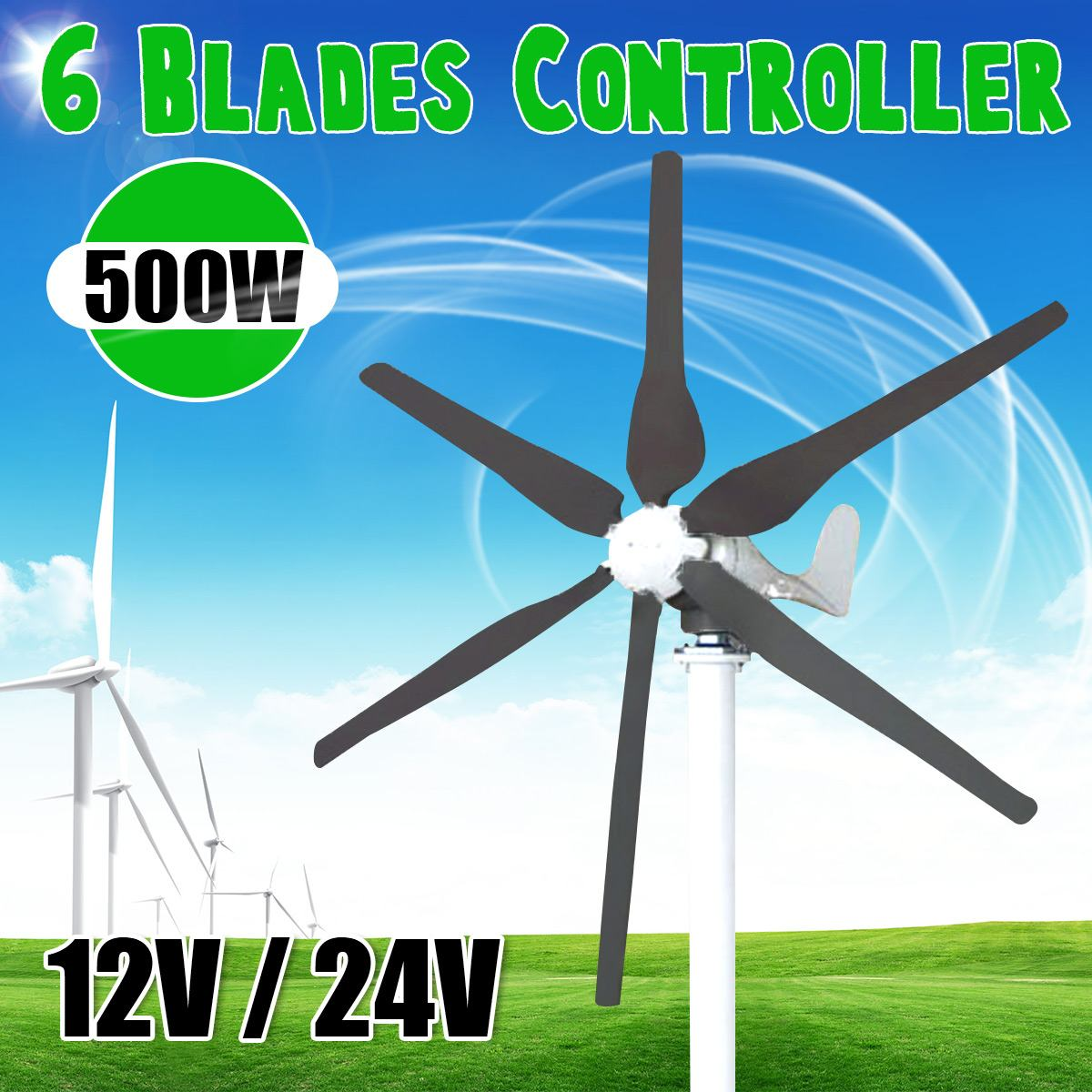 500W Wind Generator 6 Blades Wind Power Turbines Windmill Energy Miniature with Controller for Home Or Camping500W Wind Generator 6 Blades Wind Power Turbines Windmill Energy Miniature with Controller for Home Or Camping