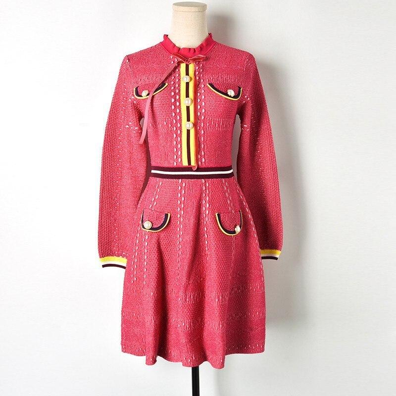 2018 Chic Ruffled Ausschnitt Langarm Pullover Kleid OL Rose Rosa mit Tasten Taschen Gestreiften Stricken Kleid A linie Frauen Kleid elegante-in Kleider aus Damenbekleidung bei  Gruppe 3