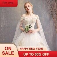 Новый gh конец Элегантный аппликация из белого кружева мяч Низкая Дешевое платье без бретелек с короткими рукавами свадебное платье высоког