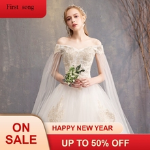 New gh-end elegant white lace applique ball low price dress strapless short-sleeved bridal dress high-end wedding evening fdress цены онлайн