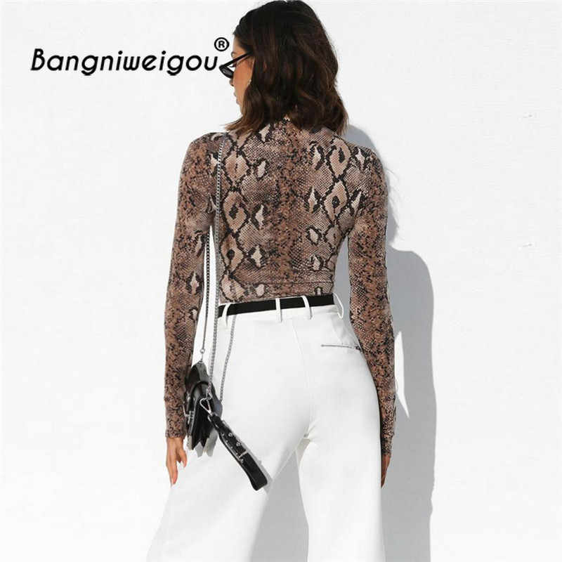 ... Turtleneck Snake Skin Python Bodysuit Bodycon Female Full Sleeve Coffee  Skinny Sexy Casual Rompers Playsuit Serpent ... 6a0c1c664