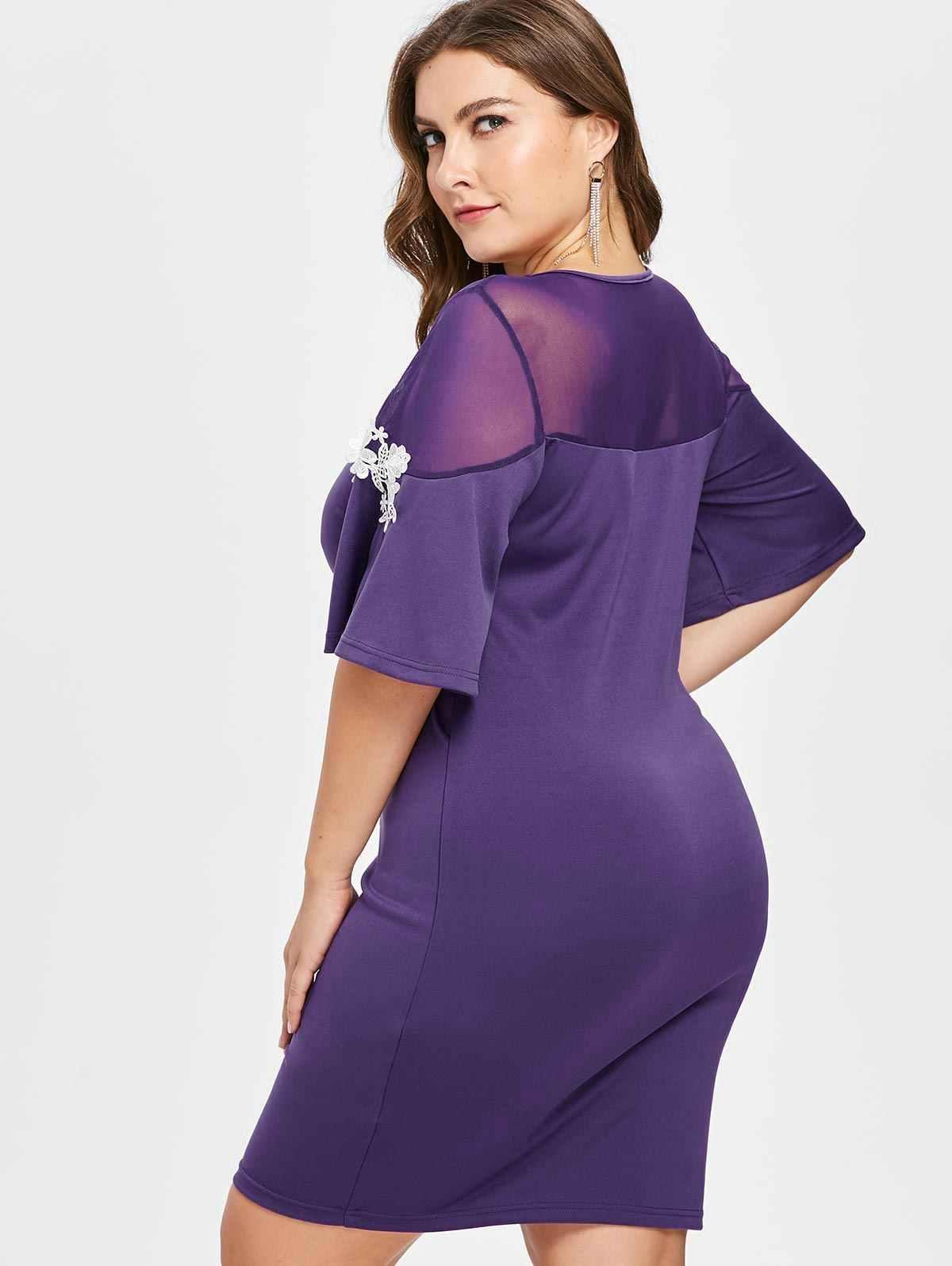 Wisalo женское плюс размер 5XL аппликация рукав колокол приталенное платье с v-образным вырезом с коротким рукавом повседневное однотонное облегающее платье вечерние платья