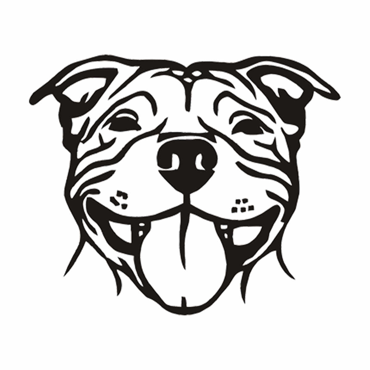 SMILING STAFFY Funny Vinyl Sticker Car Window Wall Dog Paws Small 11 Colours