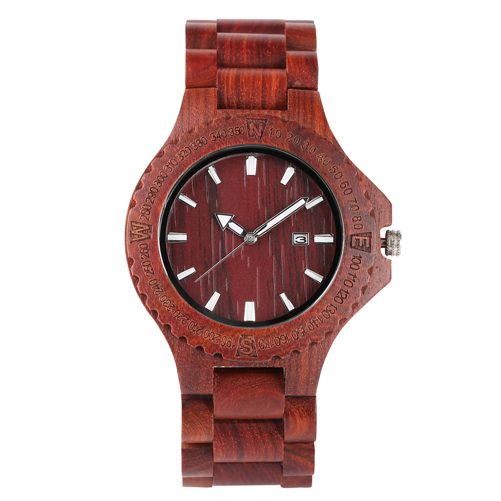 Minimalist Red Sandalwood Wood Watch For Male Wooden Bracelet Wrist Watch With A Calendar Function For Man Quartz Bamboo Watches