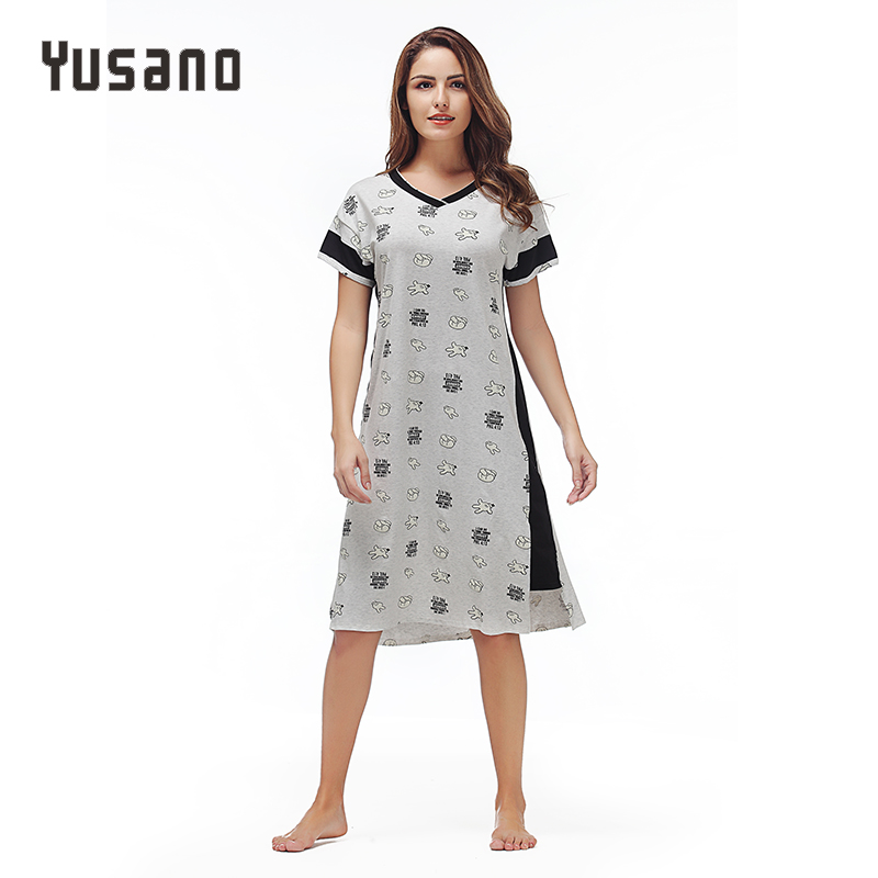 Yusano Sleepshirts Women Nightgowns Ladies Lovely Cotton Nightshirt Short Sleeve Sleepwear Animal Printe Home Clothes Nightwear