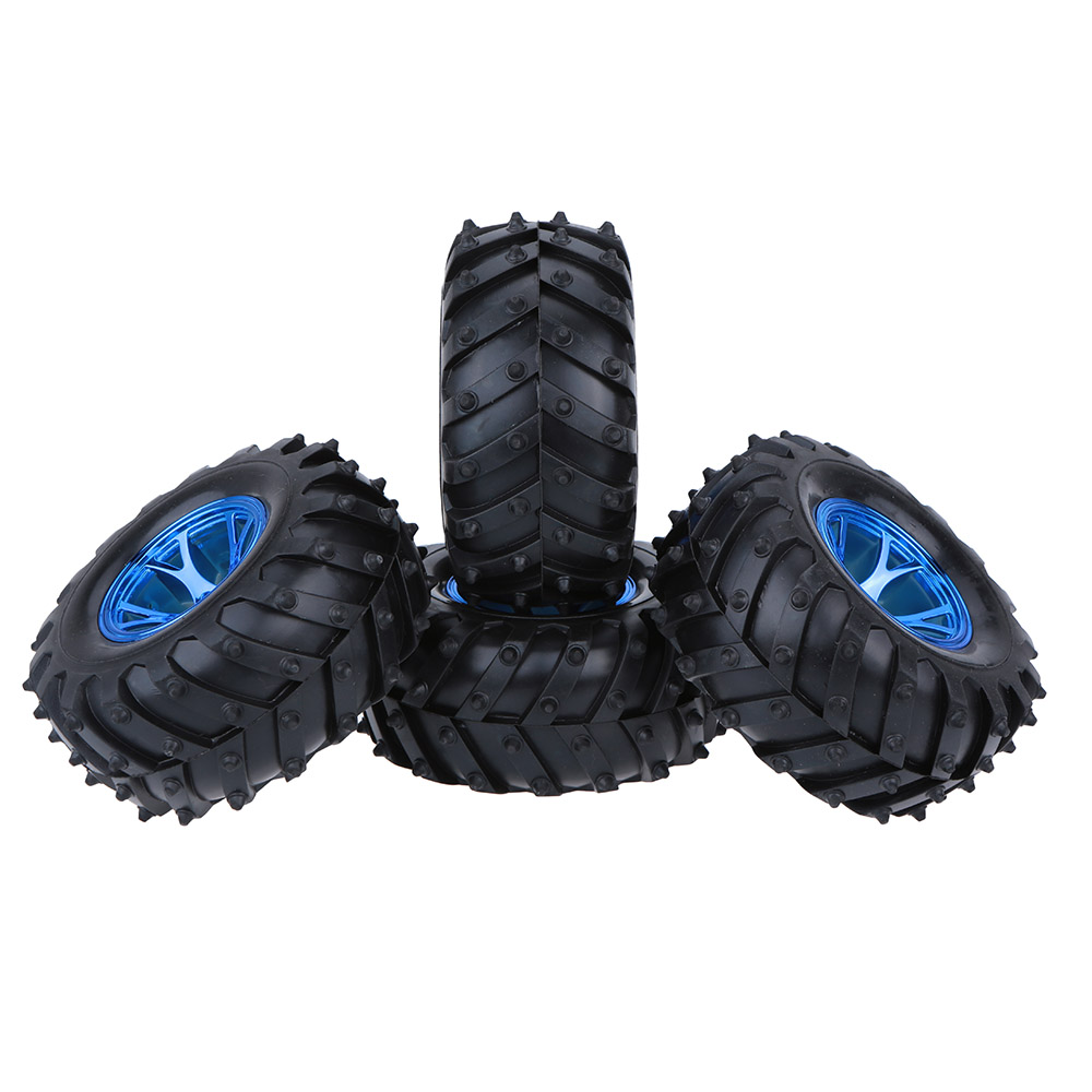4Pcs/Set Rubber Monster Truck Tire Tyres Rim Wheel For RC 1/10 Scale Models Traxxas HSP Tamiya HPI Kyosho RC Model Car Parts