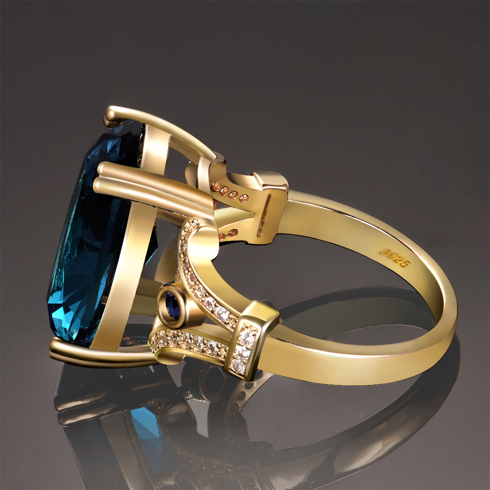 4797c81e9c39 Nasiya New Design Original Finger Ring Golden Color Rings With 13x18MM Big  Aquamarine Stones Fashion 925