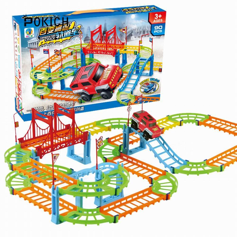 Pokich Rail Car DIY Toy Racing Track Car Assembly Magic Track Model Childrens Educational Toys
