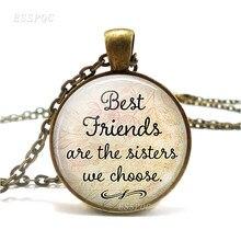 Лучшие друзья сестры мы выбираем ожерелье с цитатой дружбы ожерелье Ретро стиль литературное Стекло Ювелирные изделия лучшие друзья подар...