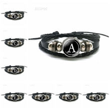 26 Letters Bracelet PersonalityTeam Name Rope Black Leather Men Women Fashion