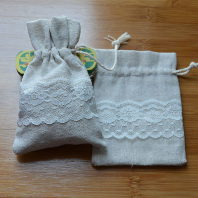 Lace Linen Jewelry Drawstring Pouch 9x12cm 9x14cm Pack Of 50 Birthday Wedding Party Candy Favor Bag Sack