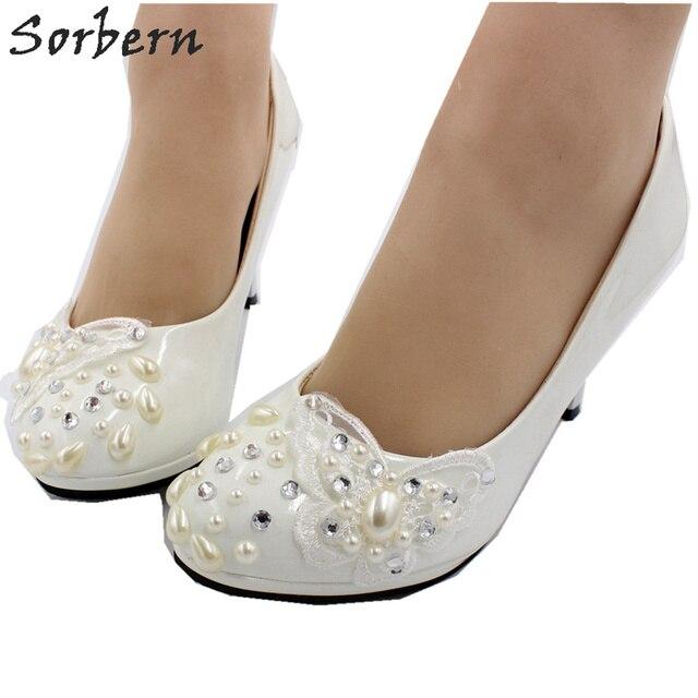 Sorbern פרפר תחרת Appliquess חתונה נעליים להחליק על משאבת כלה נעלי פלטפורמה גבוהה עקבים קצר עקבים המחודד עקבים נשים