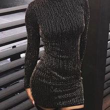Хит, женское платье с блестками, длинным рукавом, кисточками, облегающее, вечерние, Клубное, с высоким воротом, обтягивающее, повседневное, сексуальное, Клубное платье