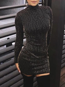 Hot Women Sequined Long Sleeve Tassel Bodycon Party Club Turtleneck Skinny Casual Sexy Club Dress(China)