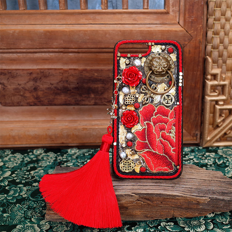 For Iphone x Case Handmade patterned Heavy Metal Style Mechanical style Gold foil embroidery 5.5 inches Limited Edition