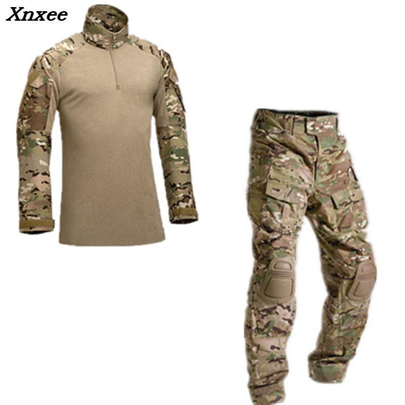 Tactique militaire uniforme veste armée de la militaire uniforme de combat tactique pantalon avec genouillères camouflage chasse vêtements