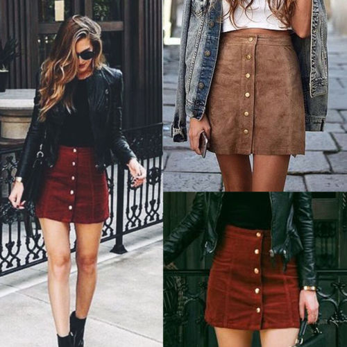 2019 Women High Waist Button   Suede     Leather   Skirts Pocket Preppy Short Mini Skirts