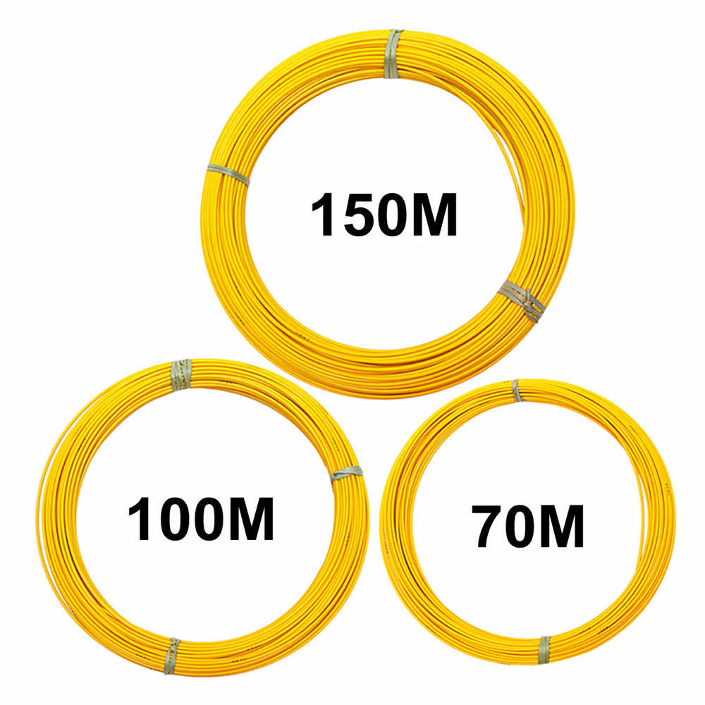 70/100/150m 6mm Fiberglass Cable Puller Guide Wire Fish Tape Conduit Duct Rodder Yellow Electrical Wiring Accessories Kit