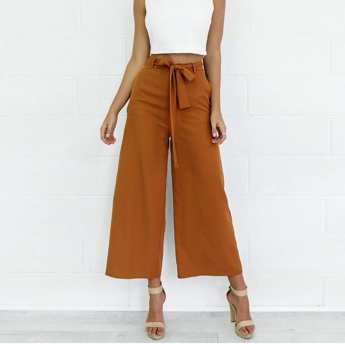 Women Wide Leg Loose Trousers Casual Sashes Long   Pants     Capri   Women Office Work Wear Trousers