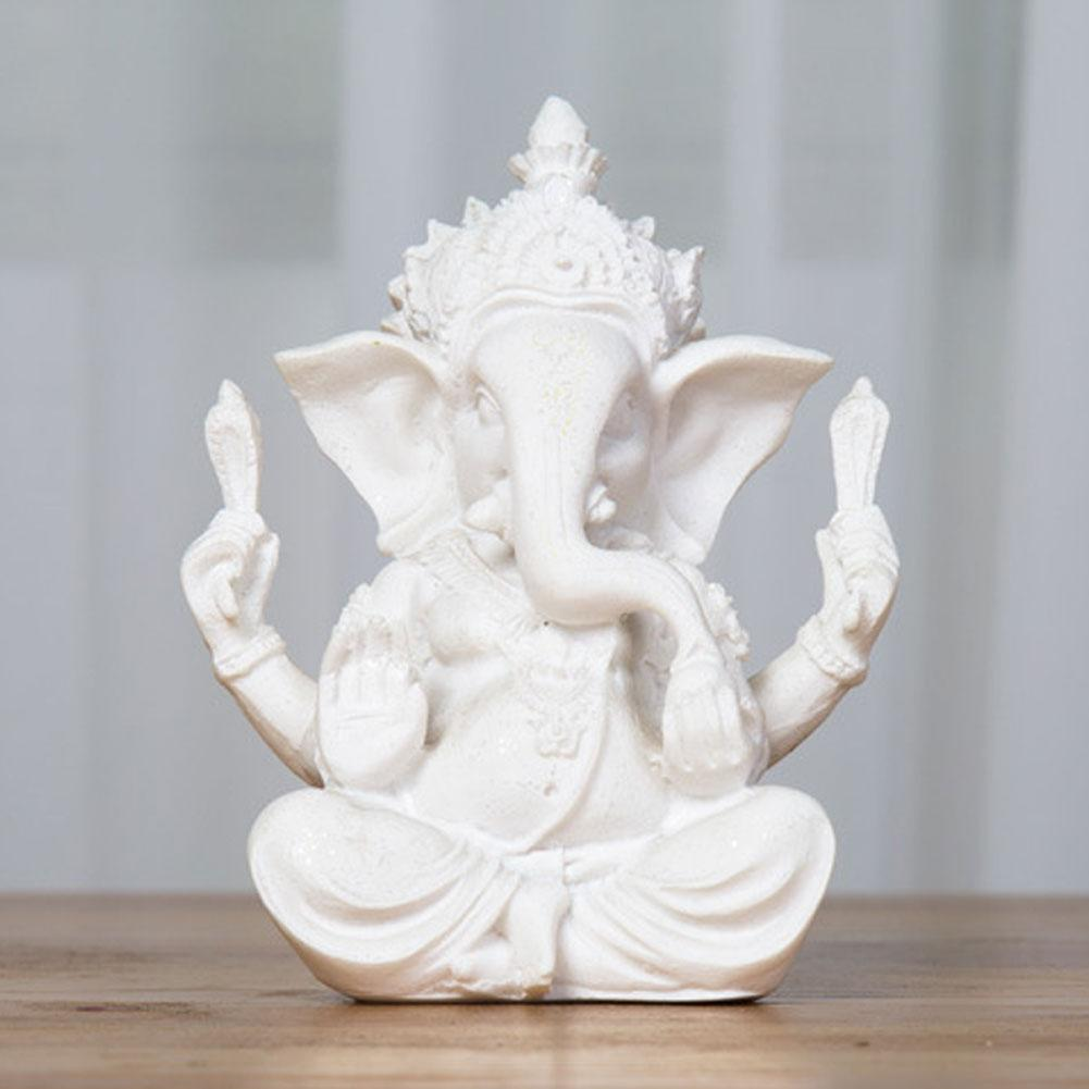 Religious Sandstone Ganesha Buddha Elephant Statue Sculpture Handmade Natural Sandstone Craft Figurine Miniatures Home Decor